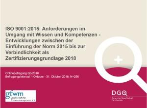 Ergebnisse Onlinebefragung zur ISO 9001201 Wissen und Kompetenzen Stand 2018